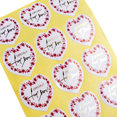 Lovely Wreath Heart with Especially For You Sticker for Gift Wrapping Packaging, Pack of 100 pcs