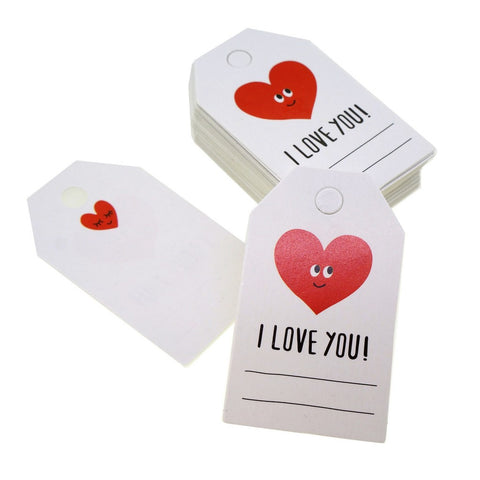 Red Heart I Love You Design Paper Gift / Price Tags with Color Twine for Gift Wrapping Packaging, Set of 48