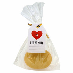 Red Heart I Love You Design Paper Gift Tags with Flat Cellophane Bags and Golden Twist Ties, Set of 48