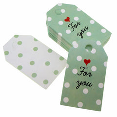 Polka Dot For you Design Paper Gift / Price Tags with Color Twine for Gift Wrapping Packaging, Set of 48
