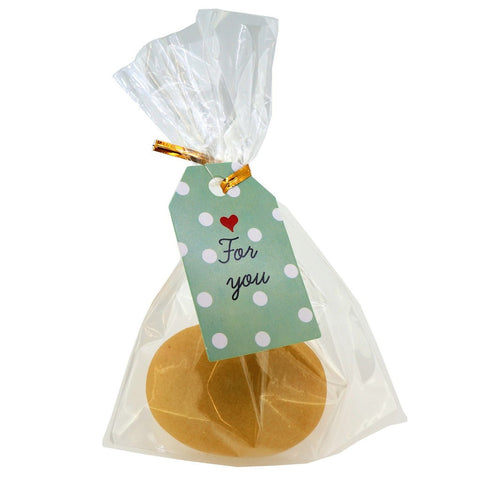 Polka Dot For you Design Paper Gift / Price Tags with Flat Cellophane Bags and Golden Twist Ties, Set of 48