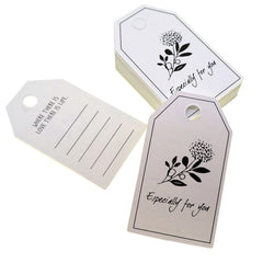 Flower Especially For You Design Paper Gift / Price Tags with Color Twine for Gift Wrapping Packaging, Set of 48