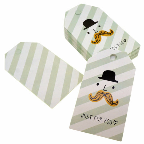 Mustache Man Just for You Design Paper Gift / Price Tags with Color Twine for Gift Wrapping Packaging, Set of 48