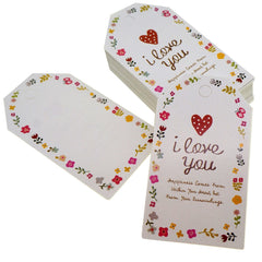 I Love You Flower Frame Design Paper Gift / Price Tags with Color Twine for Gift Wrapping Packaging, Set of 48