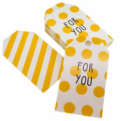 For You Yellow Polka Dot Stripe Design Paper Gift / Price Tags with Color Twine for Gift Wrapping Packaging, Set of 48