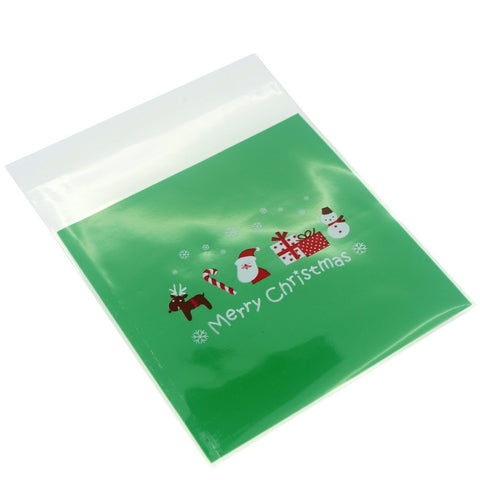 Green Christmas Present Cookie Candy Snack Party Favor Gift Bags, Pack of 95