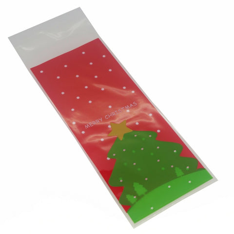 Christmas Tree Cookie Candy Snack Party Favor Gift Bags, Pack of 95, Red Background