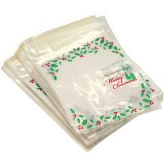 Holly Christmas Tree Merry Christmas Cookie Candy Party Gift Bags with Self-Adesive, Pakc of 95