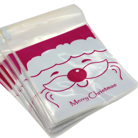 Santa Claus Merry Christmas Cookie Candy Party Gift Bags with Self-Adhesive, Pack of 95