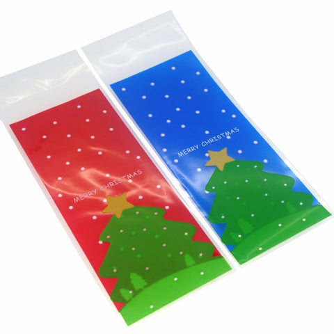 Christmas Tree Cookie Candy Snack Party Favor Gift Bags, Pack of 95, Blue and Red Background