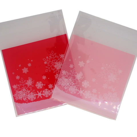 Christmas Snowflake Cookie Candy Snack Party Favor Gift Bags, Pack of 95, Red and Pink Color