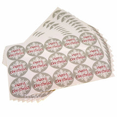 Merry Christmas Snowflake Round Sticker for Gift Wrapping Packaging, Set of 150