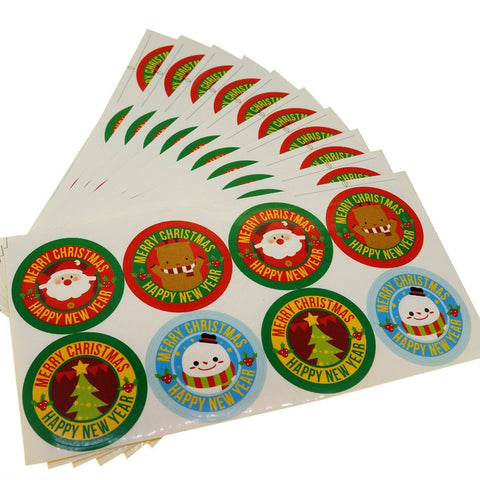 Christmas element Round Sticker for Party Favors Gift Wrapping decoration , Pack of 80