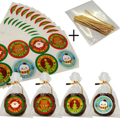 Christmas Round Sticker with cello Treat bags for Cookie Biscuits Candy Cake Baking Packaging, Pack of 100 bags and 80 Stickers