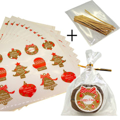 Christmas holiday element Sticker with cello Treat bags for Cookie Biscuits Candy Cake Baking Packaging, Pack of 100 bags and 80 Stickers