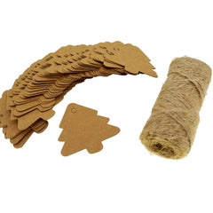 Christmas Tree Kraft Paper Tags with Jute Twines, Pack of 50