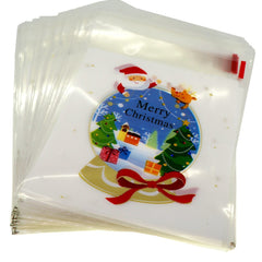Merry Christmas Crystal Ball Design Holiday Bags for Cookie Biscuits Candy Cake Baking Packaging, Pack of 95