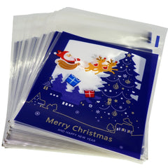 Blue Merry Christmas Design Holiday Bags for Cookie Biscuits Candy Cake Baking Packaging, Pack of 95