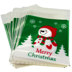 Snowman Merry Christmas Green Design Holiday Bags for Cookie Biscuits Candy Cake Baking Packaging, Pack of 95