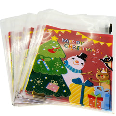 Snowman Merry Christmas Red Design Holiday Bags for Cookie Biscuits Candy Cake Baking Packaging, Pack of 95