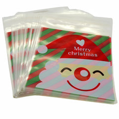 Santa Claus Merry Christmas Red Design Holiday Bags for Cookie Biscuits Candy Cake Baking Packaging, Pack of 95