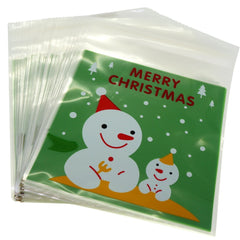 Big and Small Snowman Merry Christmas Green Design Holiday Bags for Cookie Biscuits Candy Cake Baking Packaging, Pack of 95