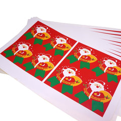 Santa Claus Merry Christmas Badge Sticker for Gift Wrapping or Scrapbook, Pack of 80 pcs