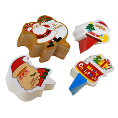 Santa Claus & Stocking Christmas Cupcake Toppers for Cake Decorations, 4 Different Design, Pack of 95