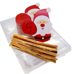 Santa Claus Christmas Tags with cello Treat bags for Cookie Biscuits Candy Cake Baking Packaging, Pack of 48