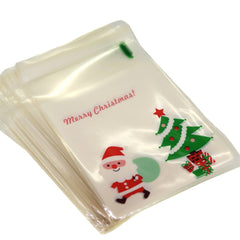Santa Claus n Christmas Tree Cookie Candy Party Gift Bags with Self-Adhesive, Pack of 95