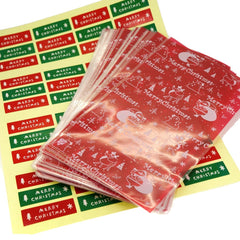 Santa Claus Merry Christmas Cookie Candy Party Gift Cello Bags with Sticker Seal, Pack of 95