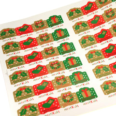 Merry Christmas Stickers for Gift Wrapping or Scrapbook, Lot of 72 pcs