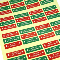 Green and Red Merry Christmas Stickers for Gift Wrapping or Scrapbook, Lot of 48 pcs