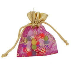 Xmas Gift Bags Pouches, Organza, Fuchasia Color, Gold Top, 8x10cm, Pack of 12 pieces
