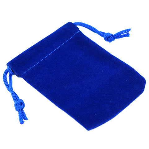Pack of 12 Blue Color Soft Velvet Pouches w Drawstrings for Jewelry Gift Packaging, 5x7cm