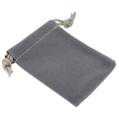 Pack of 12 Grey Color Soft Velvet Pouches w Drawstrings for Jewelry Gift Packaging, 5x7cm