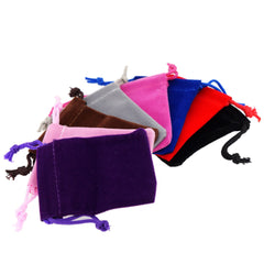 Pack of 8 Mix Color Soft Velvet Pouches w Drawstrings for Jewelry Gift Packaging, 5x7cm