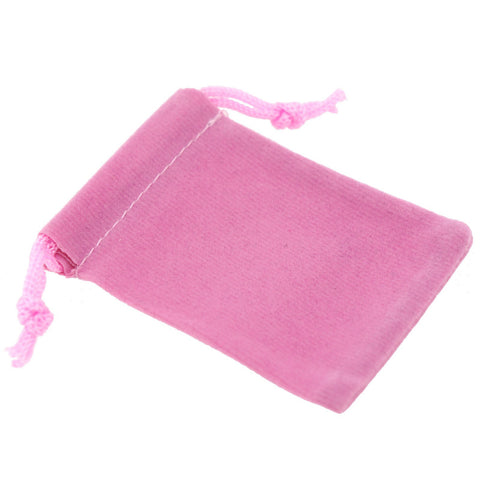 Pack of 100 Pink Color Soft Velvet Pouches w Drawstrings for Jewelry Gift Packaging, 5x7cm