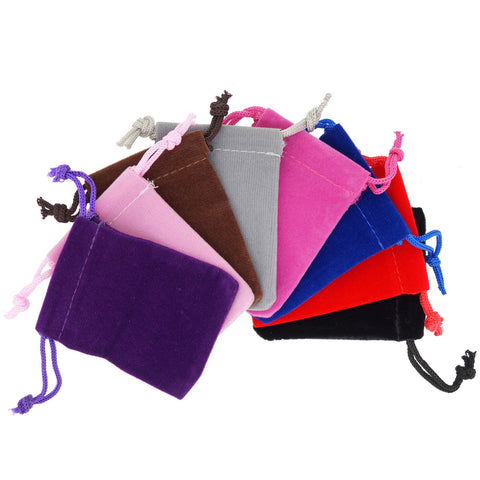 Pack of 8 Mix Color Soft Velvet Pouches w Drawstrings for Jewelry Gift Packaging, 7x9cm