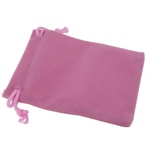 Pack of 100 Pink Color Soft Velvet Pouches w Drawstrings for Jewelry Gift Packaging, 7x9cm