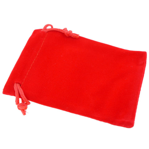 Pack of 100 Red Color Soft Velvet Pouches w Drawstrings for Jewelry Gift Packaging, 7x9cm