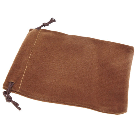 Pack of 12 Brown Color Soft Velvet Pouches w Drawstrings for Jewelry Gift Packaging, 9x12cm