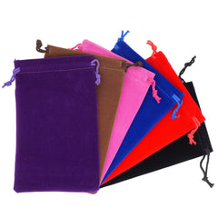 Pack of 6 Mix Color Soft Velvet Pouches w Drawstrings for Jewelry Gift Packaging, 10x16cm