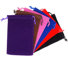 Pack of 6 Mix Color Soft Velvet Pouches w Drawstrings for Jewelry Gift Packaging, 12x18cm