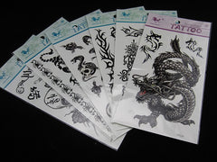 Pack of 6 Dragon Skull Body Art Temporary Tattoos