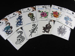 Dragon Skull Tiger Rose Tribal Temporart Tattoos x10