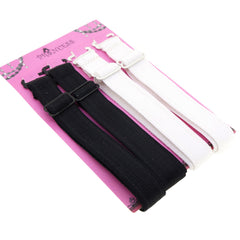 15mm Wide Band Stylish Bra Straps, Women's Accessories Black n White Color Set