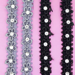 Flower Lace with Clear Crystal Fashion Bra Shoulder Straps, 10mm Wide, Black and Grey Color Set
