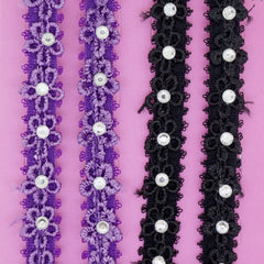 Flower Lace with Clear Crystal Fashion Bra Straps, 10mm Wide, Black and Purple Color Set