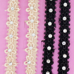 Flower Lace with Clear Crystal Fashion Bra Straps, 10mm Wide, Black and Beige Color Set